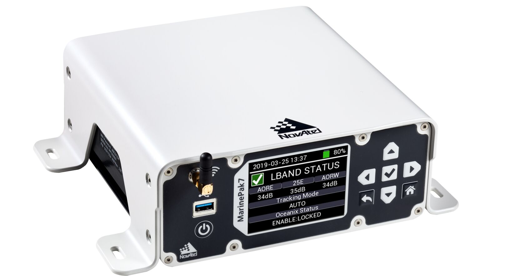 An image of the MarinePak7 marine-certified GNSS receiver on a white background.